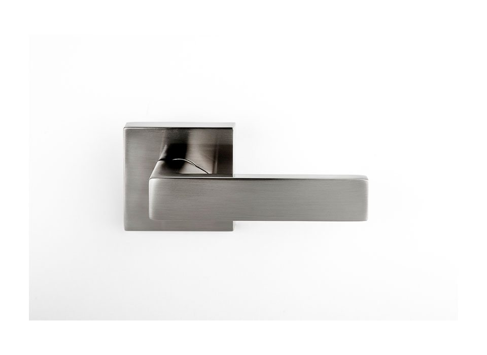 modern door handle lever on square rose brushed nickel finish